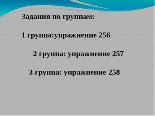 Задания по группам: 1 группа:упражнение 256 2 группа: упражнение 257 3 групп