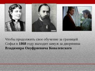 Чтобы продолжить свое обучение за границей Софья в 1868 году выходит замуж за