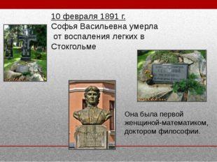 10 февраля 1891 г. Софья Васильевна умерла от воспаления легких в Стокгольме