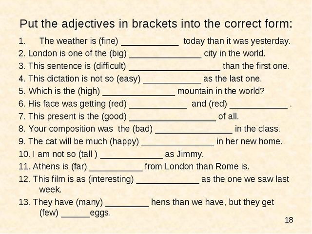 Put the adjectives in brackets into the correct form: The weather is (fine) _...