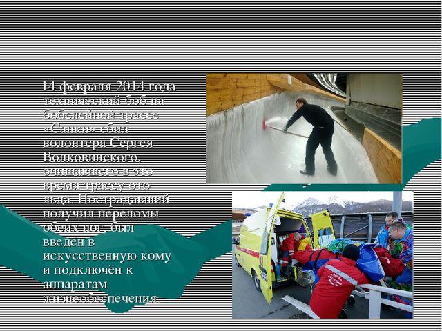 14 февраля 2014 года технический боб на бобслейной трассе «Санки» сбил волон...