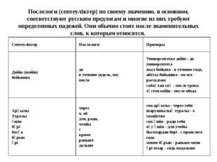 Послелоги (септеуліктер) по своему значению, в основном, соответствуют русски