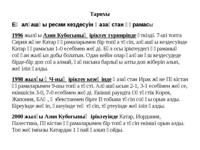 Тарихы Ең алғашқы ресми кездесуін Қазақстан құрамасы 1996жылғыАзия Кубогын...