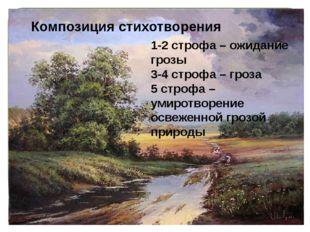 Композиция стихотворения 1-2 строфа – ожидание грозы 3-4 строфа – гроза 5 ст