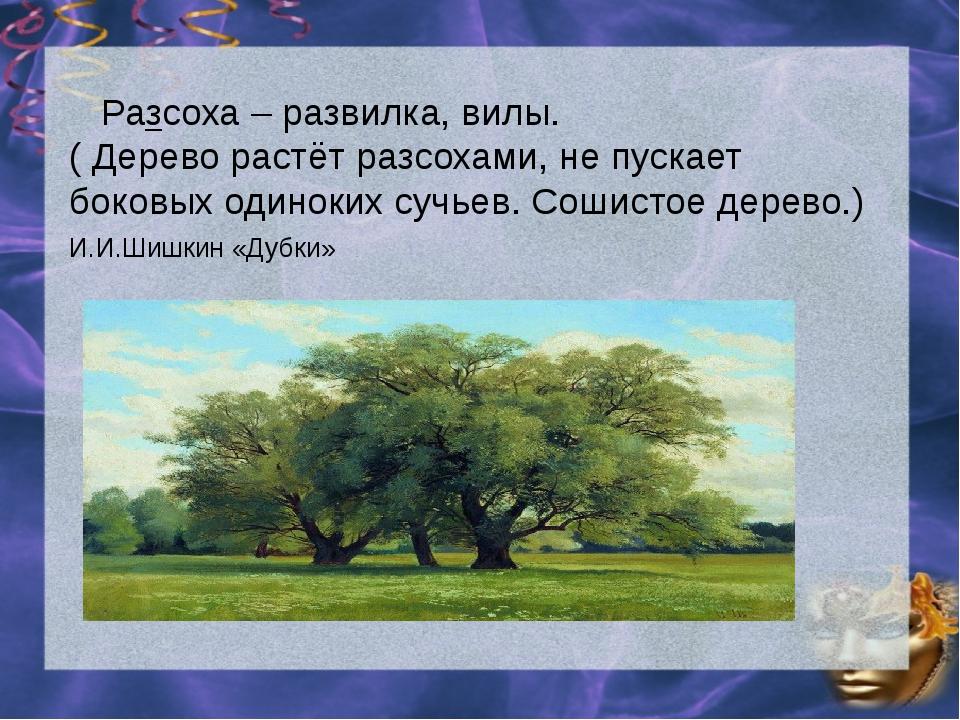 Разсоха – развилка, вилы. ( Дерево растёт разсохами, не пускает боковых один...