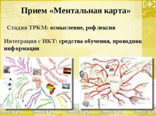 Прием «Ментальная карта» Стадия ТРКМ: осмысление, рефлексия Интеграция с ИКТ: