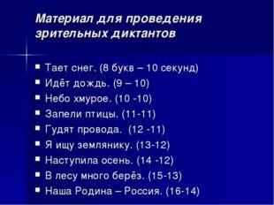 Материал для проведения зрительных диктантов Тает снег. (8 букв – 10 секунд)