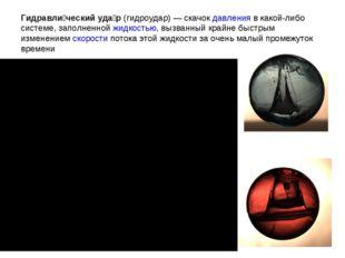 Гидравли́ческий уда́р(гидроудар)— скачокдавленияв какой-либо системе, зап