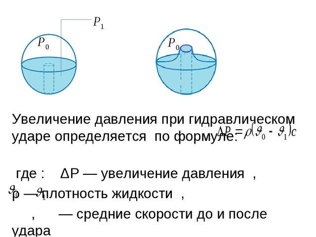 Увеличение давления при гидравлическом ударе определяется по формуле: где:...