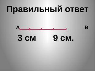 Правильный ответ А В 3 см 9 см.