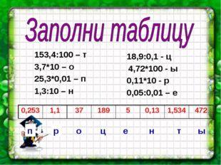 153,4:100 – т 3,7*10 – о 25,3*0,01 – п 1,3:10 – н 18,9:0,1 - ц 4,72*100 - ы