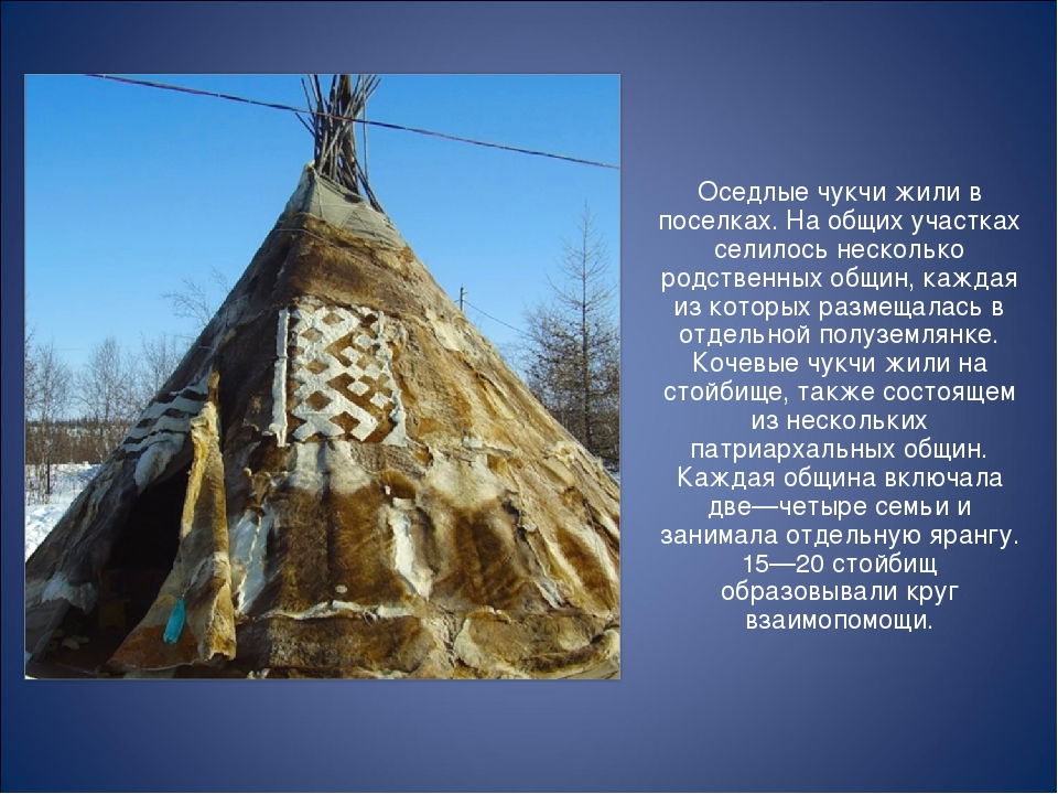 Оседлые чукчи жили в поселках. На общих участках селилось несколько родствен...