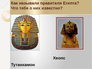 Как называли правителя Египта? Что тебе о них известно? Хеопс Тутанхамон