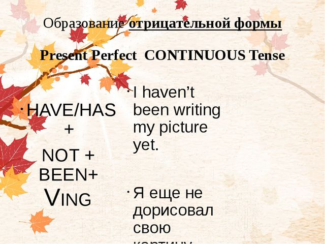 Образование отрицательной формы Present Perfect CONTINUOUS Tense HAVE/HAS + N...