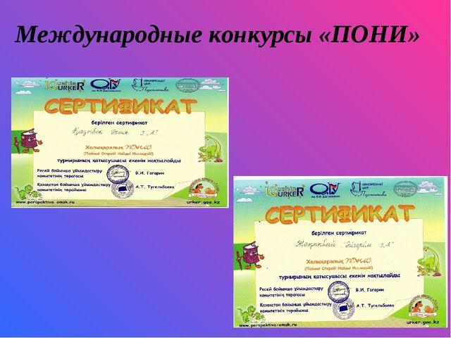 Международные конкурсы «ПОНИ»
