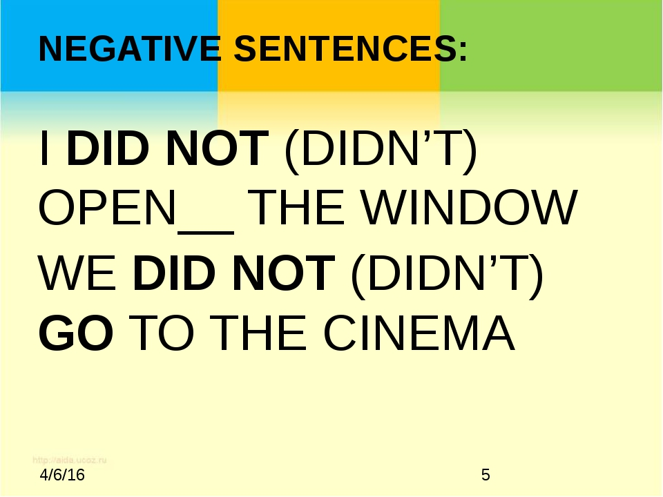 NEGATIVE SENTENCES: I DID NOT (DIDN'T) OPEN__ THE WINDOW WE DID NOT (DIDN'T)...