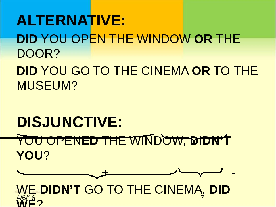 ALTERNATIVE: DID YOU OPEN THE WINDOW OR THE DOOR? DID YOU GO TO THE CINEMA O...