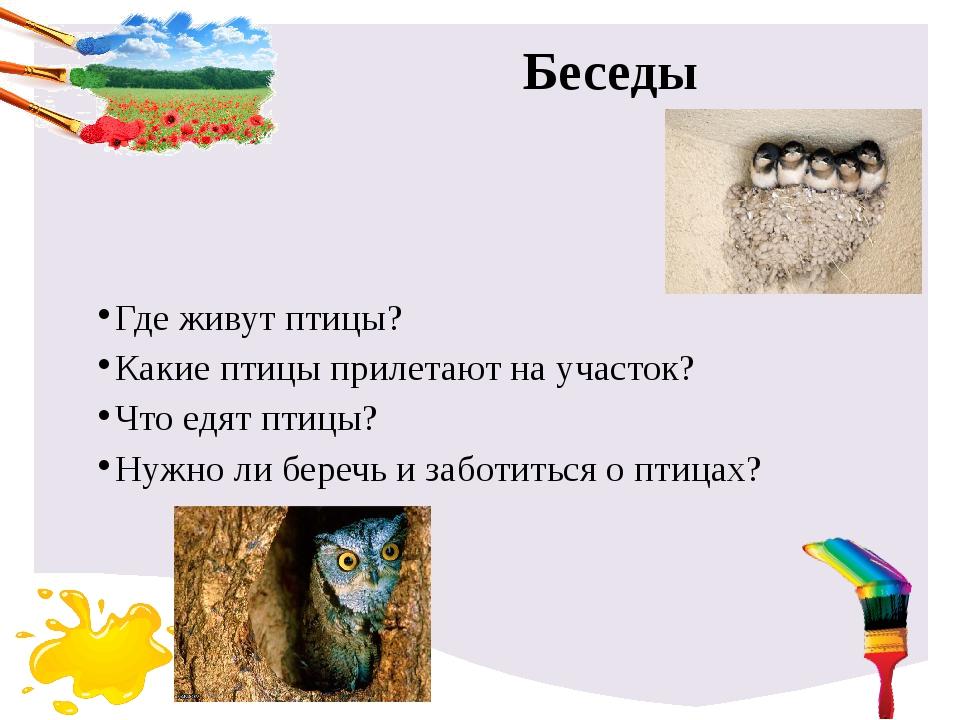 Беседы Где живут птицы? Какие птицы прилетают на участок? Что едят птицы? Нуж...