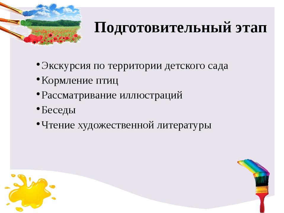 Подготовительный этап Экскурсия по территории детского сада Кормление птиц Ра...