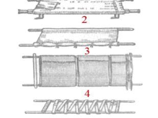 1 — стандартные; 2 - из двух жердей и тюфячной наволочки; 3 — из двух жердей