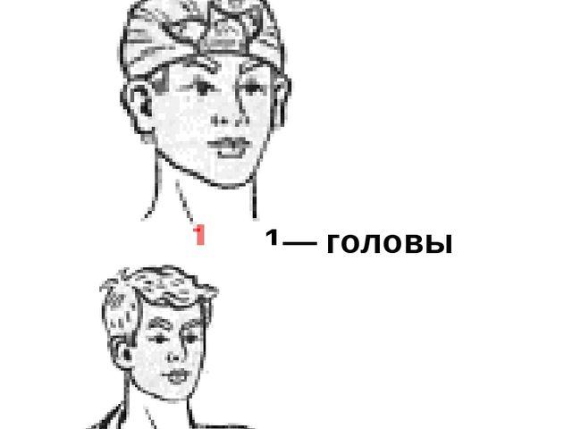 Повязки косыночные 2 — надплечья (галстуком) 1— головы