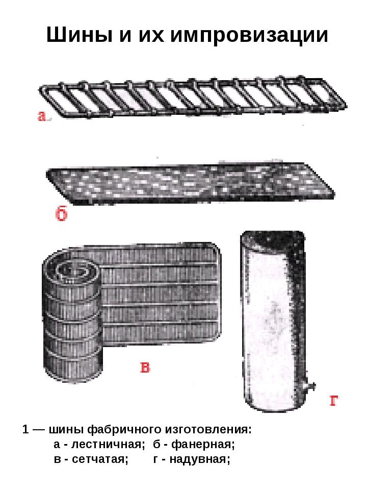 Шины и их импровизации 1 — шины фабричного изготовления: а - лестничная; б -...