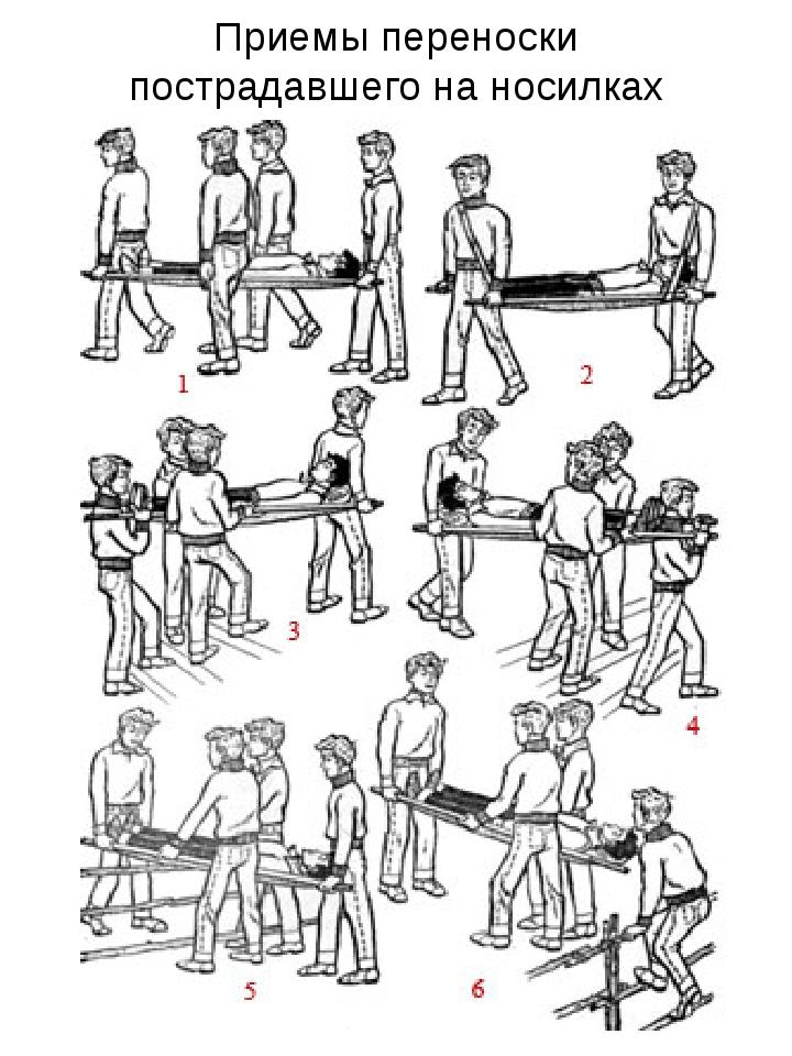 Приемы переноски пострадавшего на носилках