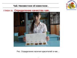 ГЛАВА 15. Определение качества чая.. Чай. Неизвестное об известном . Рис. Опр