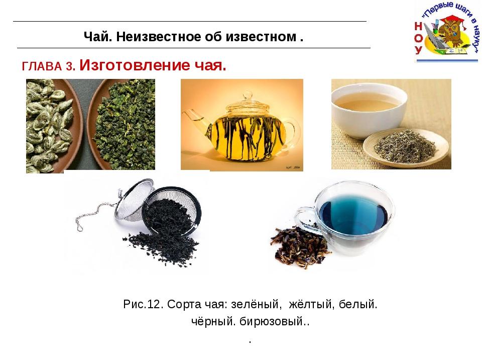 ГЛАВА 3. Изготовление чая. Чай. Неизвестное об известном . Рис.12. Сорта чая:...