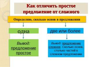 Как отличить простое предложение от сложного одна две или более Вывод: предло