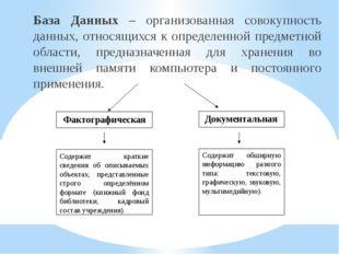 База Данных – организованная совокупность данных, относящихся к определенной