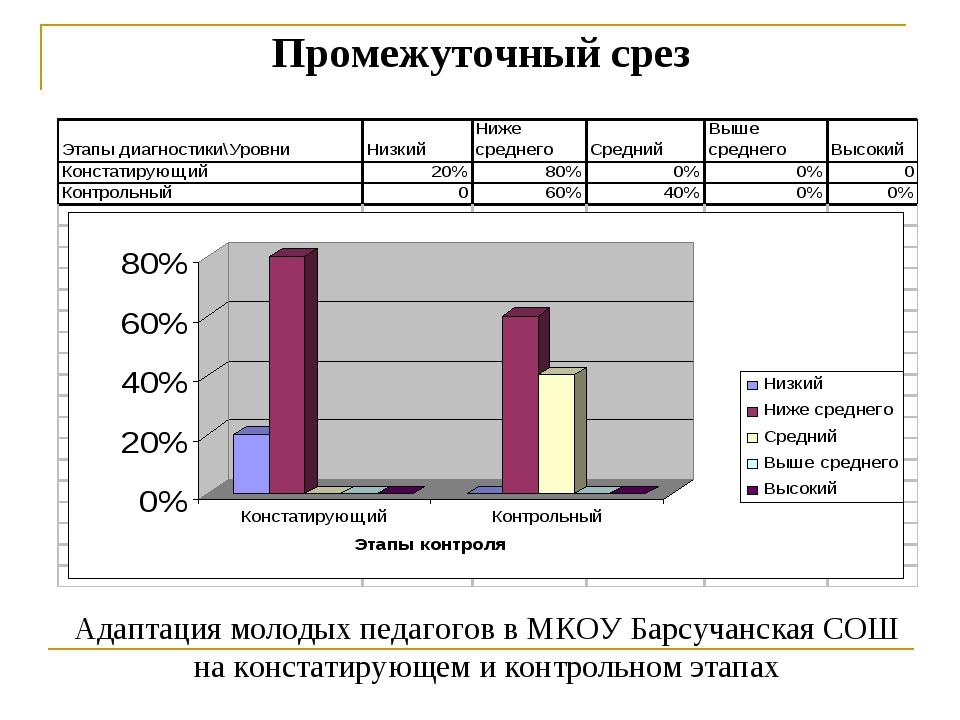 Промежуточный срез Адаптация молодых педагогов в МКОУ Барсучанская СОШ на кон...