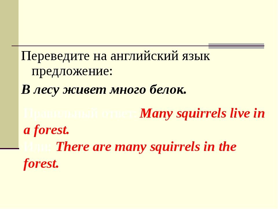 Переведите на английский язык предложение: В лесу живет много белок. Правильн...