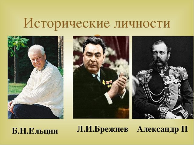 Исторические личности Б.Н.Ельцин Л.И.Брежнев Александр II 