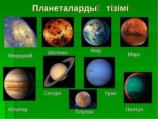 Планеталардың тізімі Меркурий Шолпан Жер Марс Юпитер Сатурн Уран Нептун Плутон