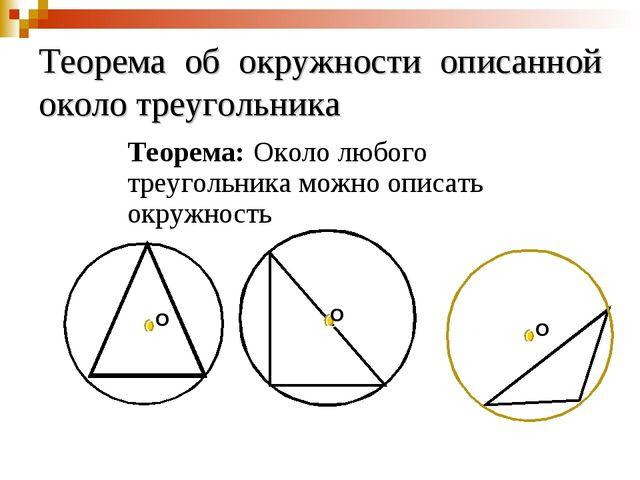 Теорема об окружности описанной около треугольника Теорема: Около любого треу...