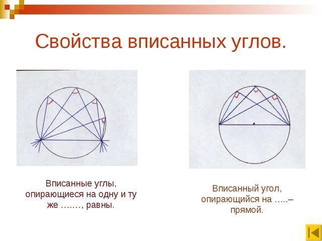Свойства вписанных углов. Вписанные углы, опирающиеся на одну и ту же ….…, ра...