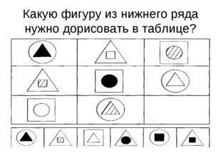 Какую фигуру из нижнего ряда нужно дорисовать в таблице?