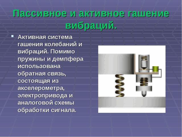 Пассивное и активное гашение вибраций. Активная система гашения колебаний и в...