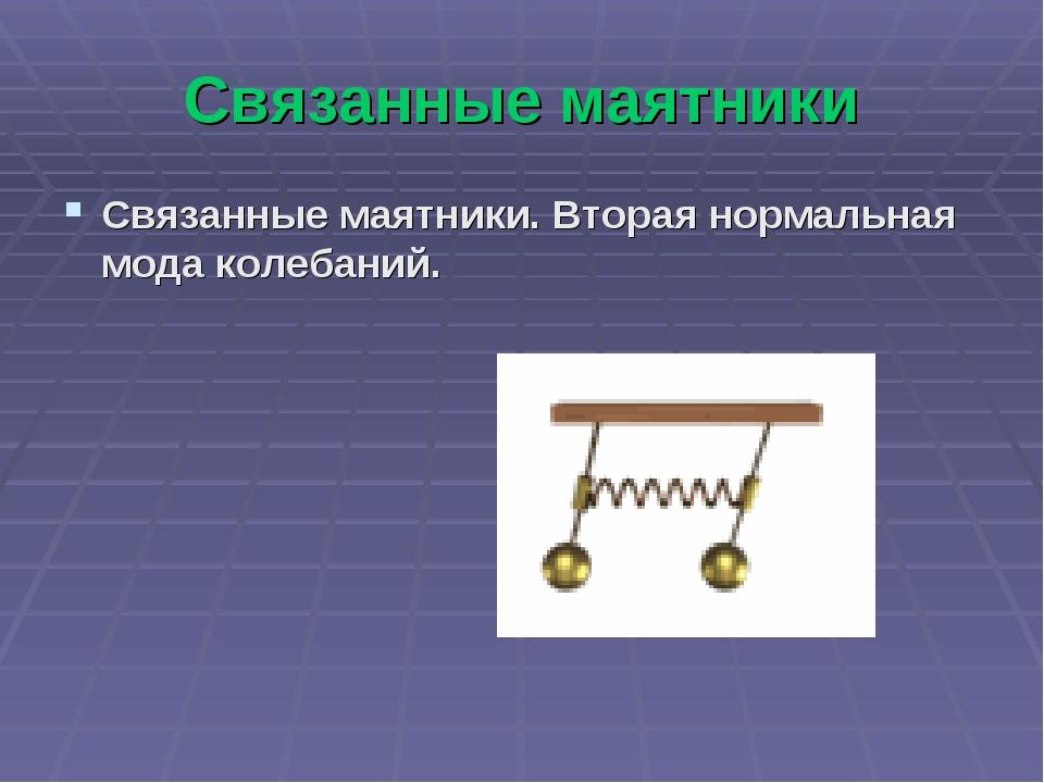 Связанные маятники Связанные маятники. Вторая нормальная мода колебаний.