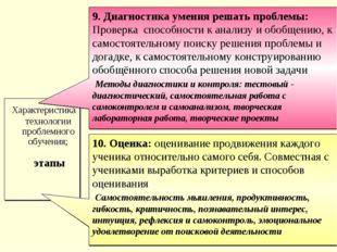 Характеристика технологии проблемного обучения; этапы 9. Диагностика умения