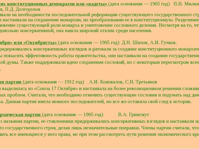 Партия русских конституционных демократов или «кадеты» (дата основания — 1905...