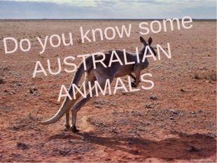 Do you know some AUSTRALIAN ANIMALS