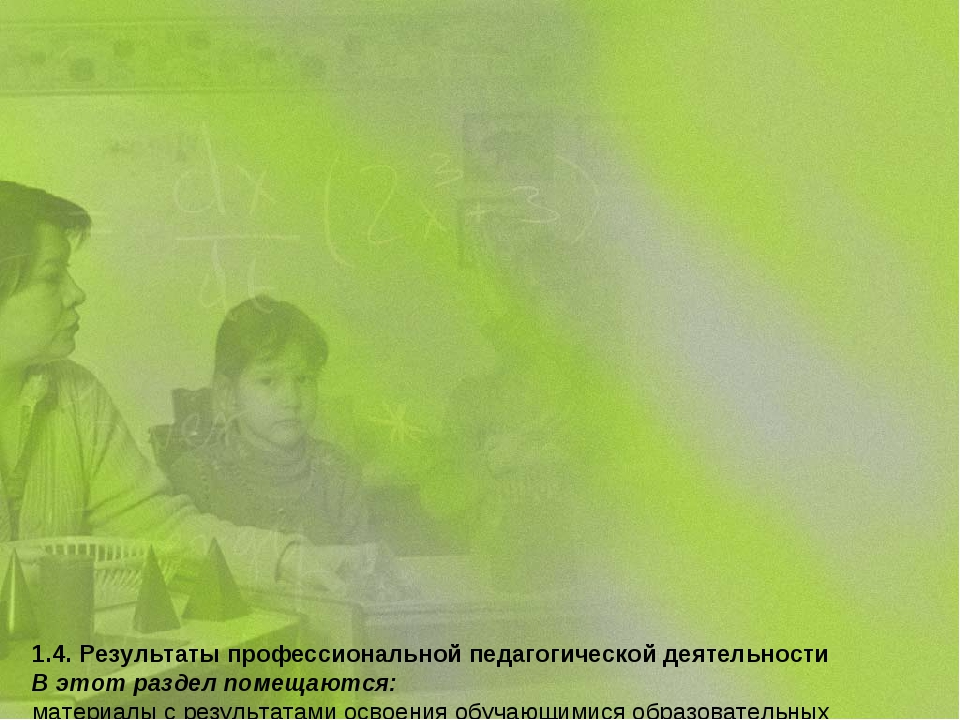 1.4. Результаты профессиональной педагогической деятельности В этот раздел п...