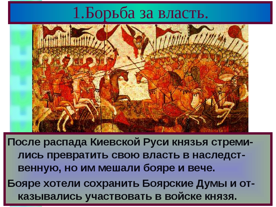 1.Борьба за власть. После распада Киевской Руси князья стреми-лись превратить...