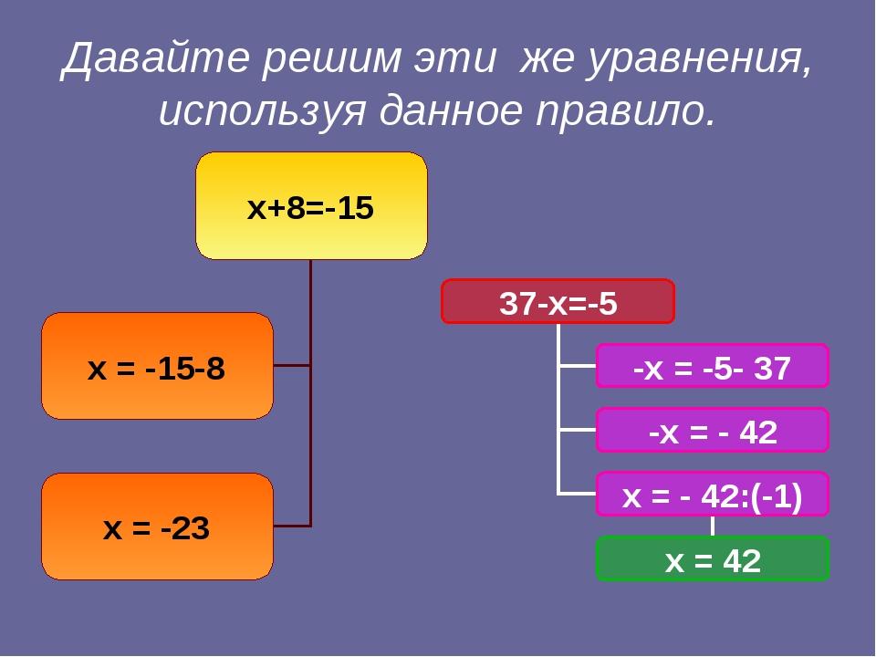 Давайте решим эти же уравнения, используя данное правило.