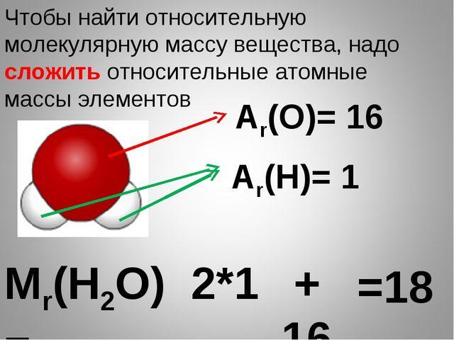 Мr(Н2О)= Чтобы найти относительную молекулярную массу вещества, надо сложить...