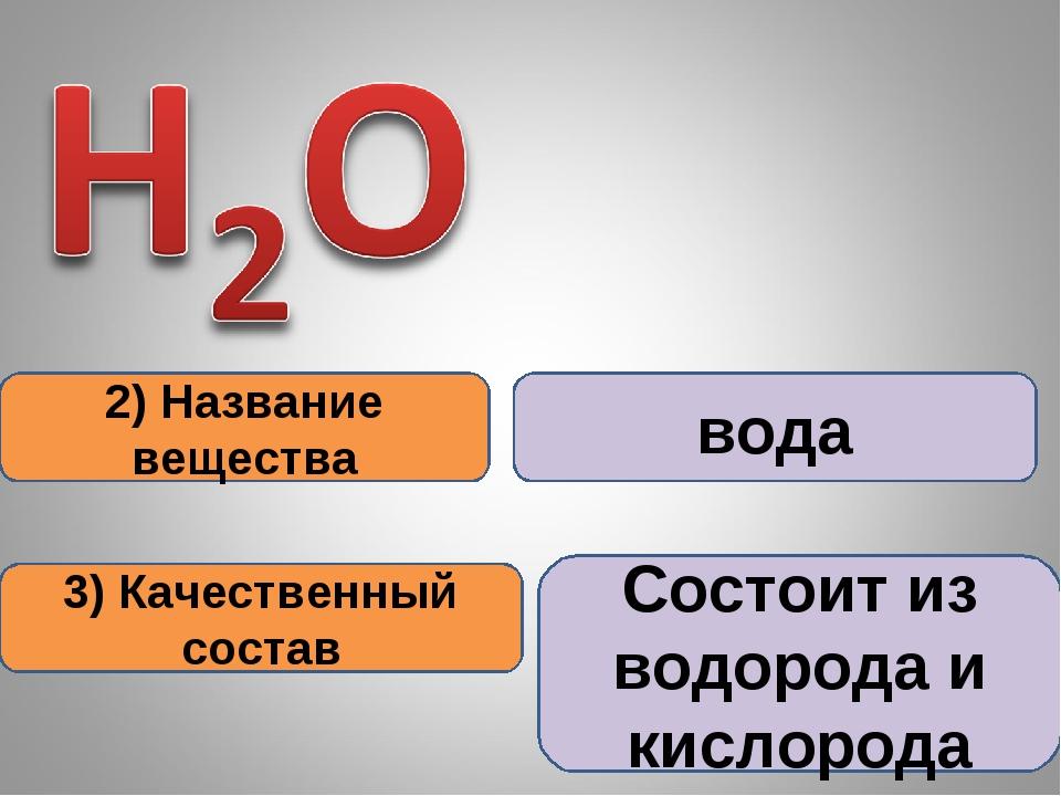 2) Название вещества 3) Качественный состав вода Состоит из водорода и кислор...