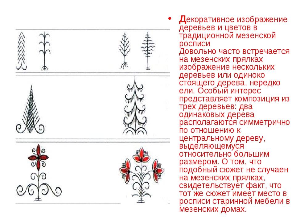 Декоративное изображение деревьев и цветов в традиционной мезенской росписи Д...