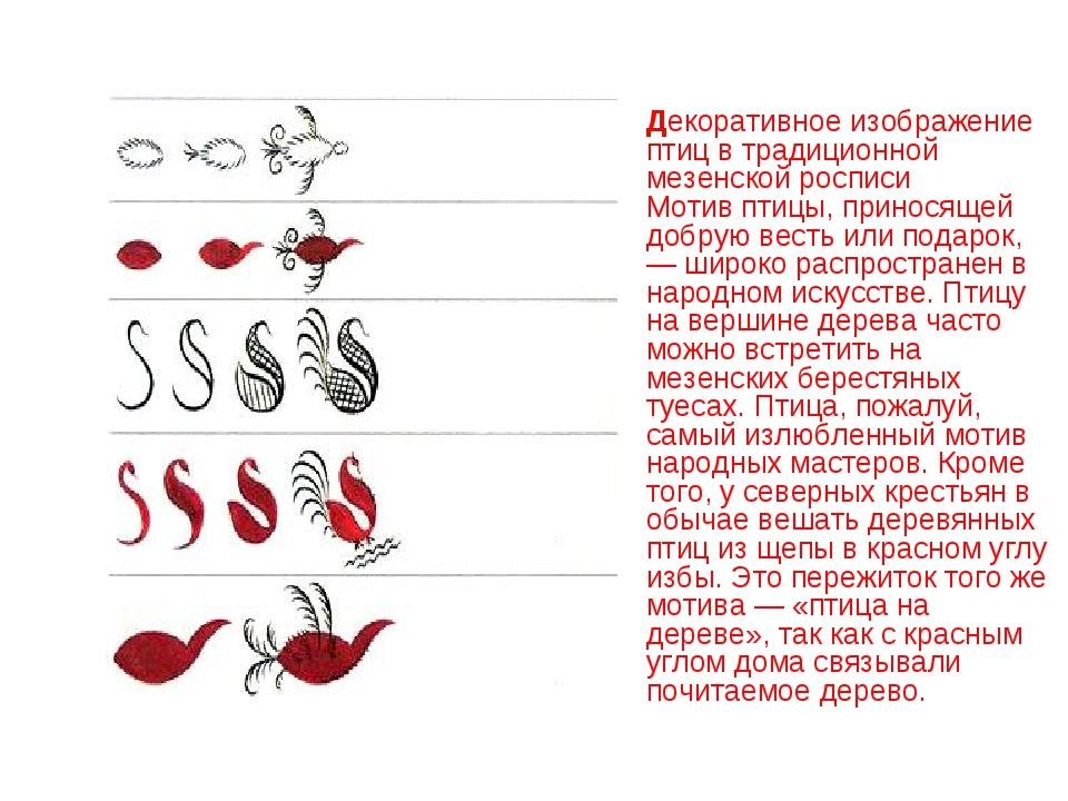 Декоративное изображение птиц в традиционной мезенской росписи Мотив птицы,...